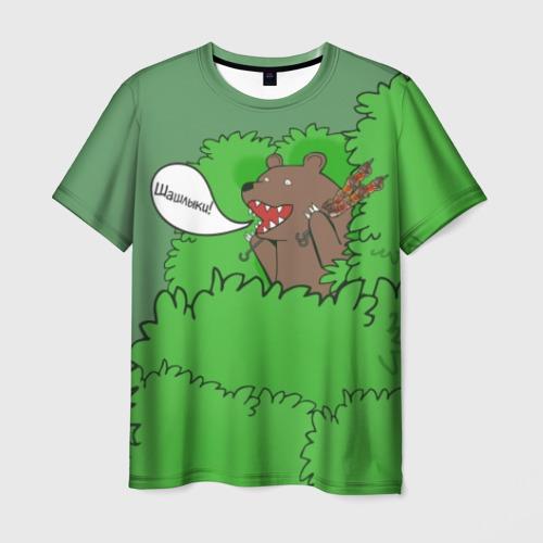 Мужская футболка 3D Шашлыки из кустов