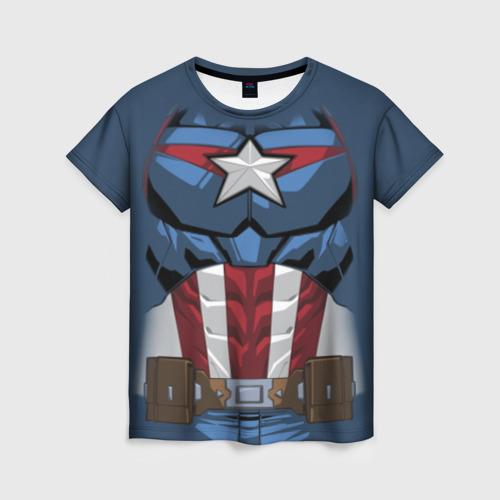 Женская футболка 3D Captain America costume