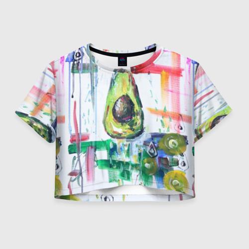 Женская футболка Crop-top 3D Авокадо авангард