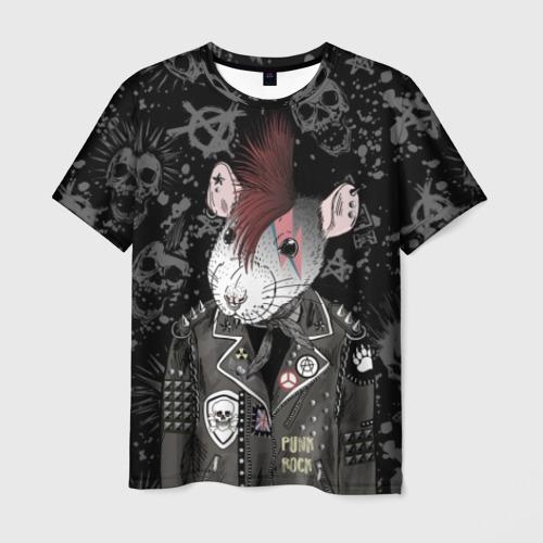 Мужская футболка 3D Крыса в косухе