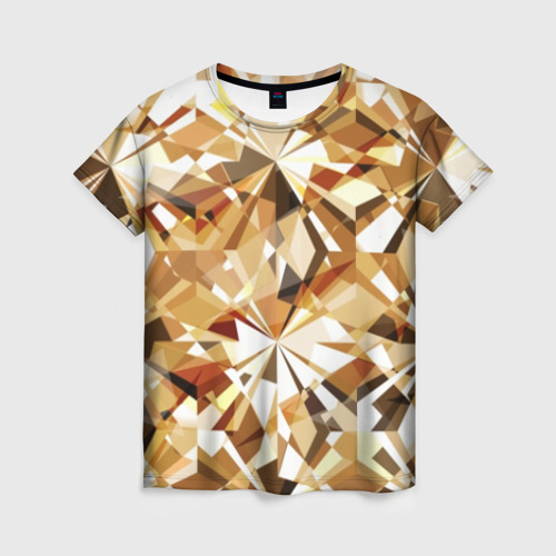 Женская футболка 3D Желтые бриллианты