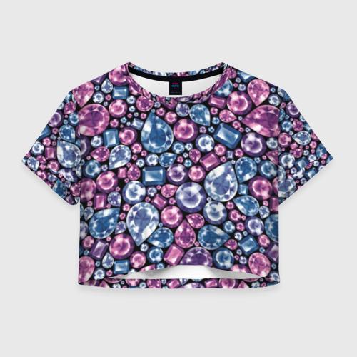 Женская футболка Crop-top 3D Разноцветные бриллианты