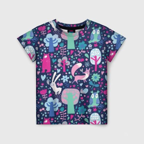 Детская футболка 3D Лесные животные