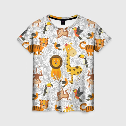 Женская футболка 3D Тропические животные