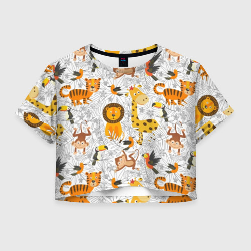 Женская футболка Crop-top 3D Тропические животные