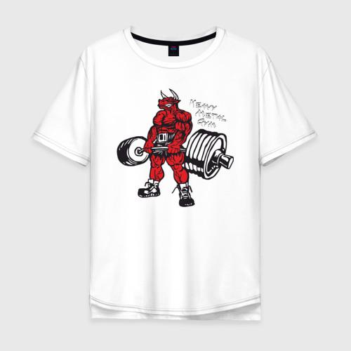 Мужская футболка хлопок Oversize Бодибилдинг Бык Становая HMGYM