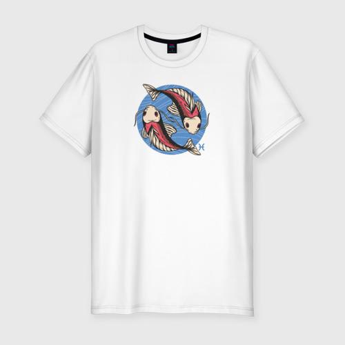 Мужская футболка хлопок Slim Знак Зодиака Рыбы