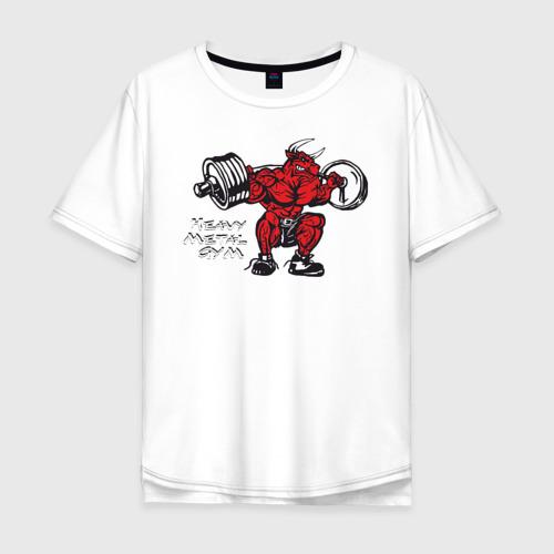 Мужская футболка хлопок Oversize Бодибилдинг Бык Присед HMGYM