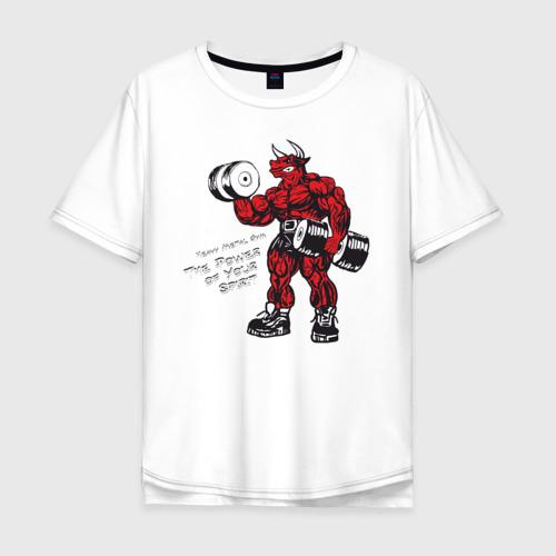 Мужская футболка хлопок Oversize Бодибилдинг Бык Гантели HMGYM