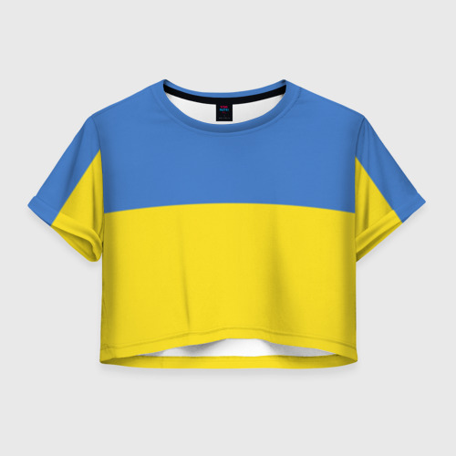 Женская футболка Crop-top 3D Украина. Флаг.