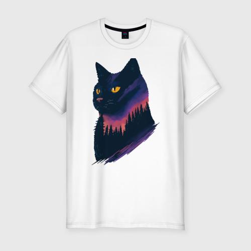 Мужская футболка хлопок Slim Ночная кошка