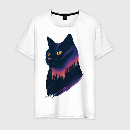 Мужская футболка хлопок Ночная кошка