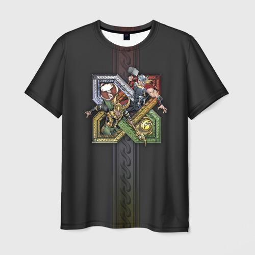 Мужская футболка 3D Loki and Thor