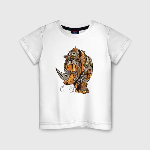 Детская футболка хлопок Носорог Steampunk