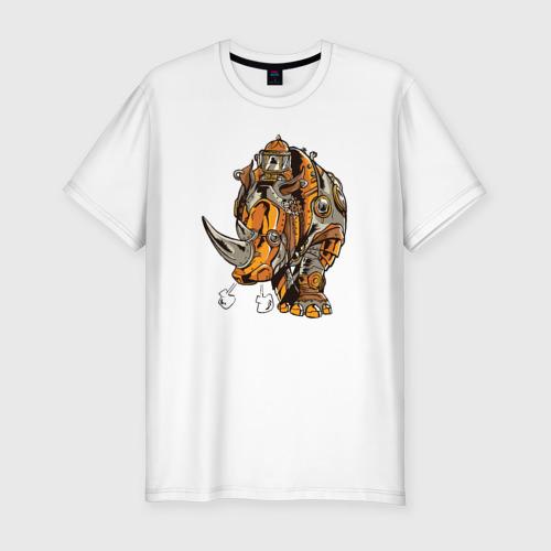 Мужская футболка хлопок Slim Носорог Steampunk