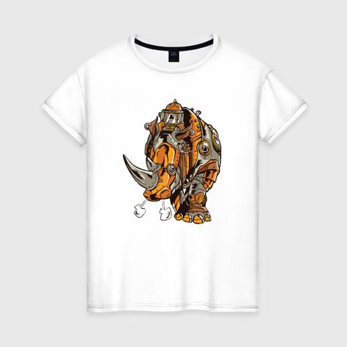 Женская футболка хлопок Носорог Steampunk