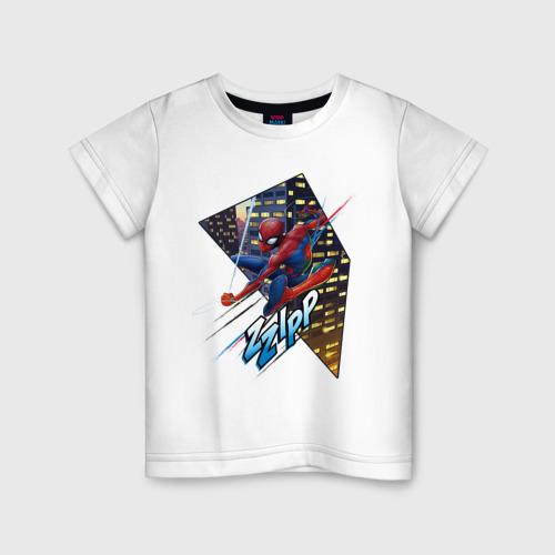 Детская футболка хлопок Человек-паук на фоне города