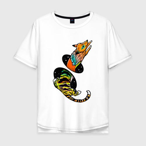Мужская футболка хлопок Oversize Лиса и тигр - телепорт