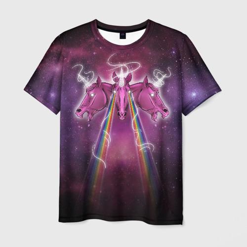 Мужская футболка 3D Единороги в космосе