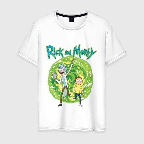 Мужская футболка хлопок  Rick and Morty in the portal