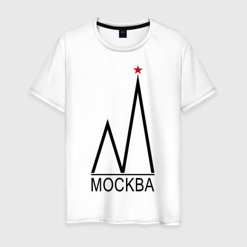 Мужская футболка хлопок Москва. Чёрный логотип.2.