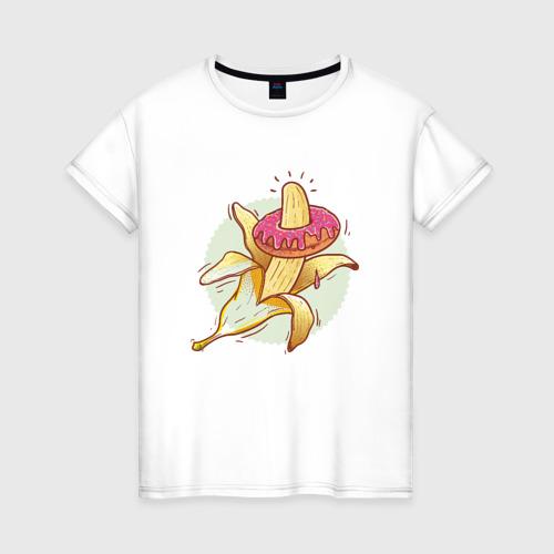 Женская футболка хлопок Пончик на банане