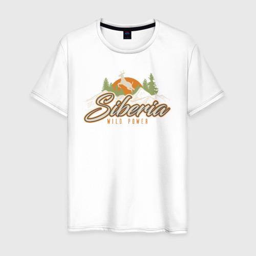 Мужская футболка хлопок Сибирь. Дикая сила