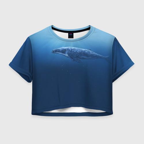 Женская футболка Crop-top 3D Кит