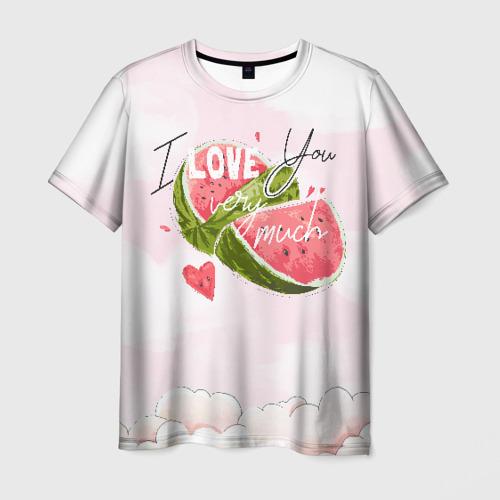 Мужская футболка 3D I love you very much