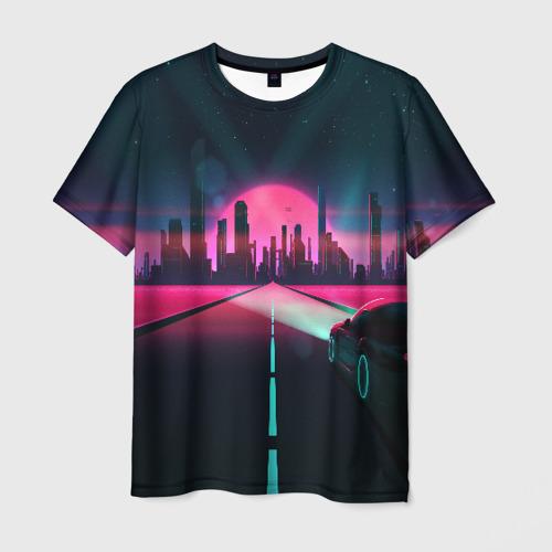 Мужская футболка 3D НЕОНОВЫЙ ГОРОД