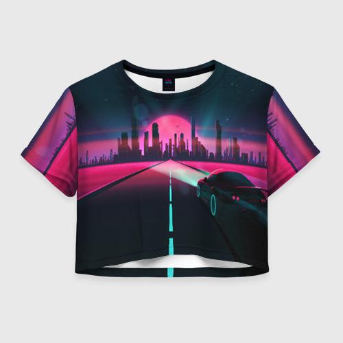 Женская футболка Crop-top 3D НЕОНОВЫЙ ГОРОД