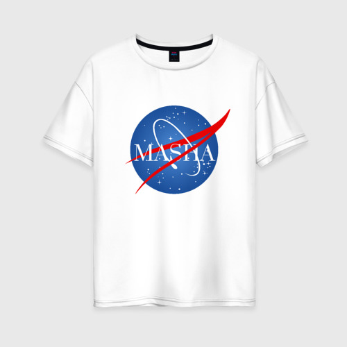 Женская футболка хлопок Oversize Имя в стиле NASA