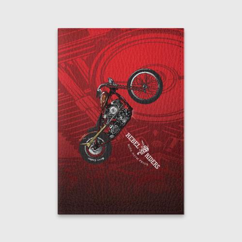 Обложка для паспорта матовая кожа Vintage chopper motorcycle
