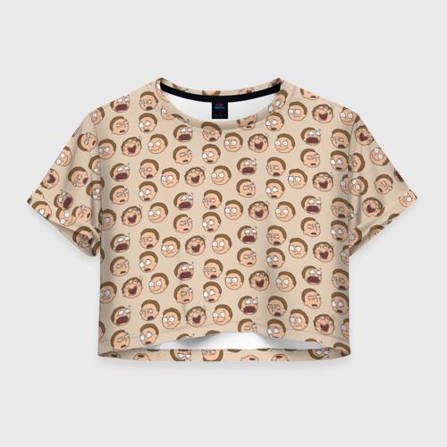 Женская футболка Crop-top 3D Эмоции Морти