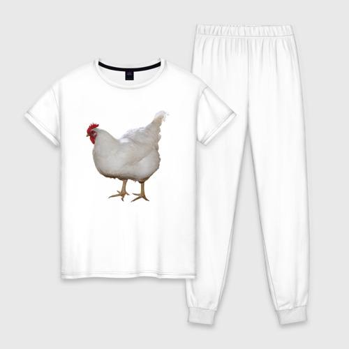Женская пижама хлопок Белая курица