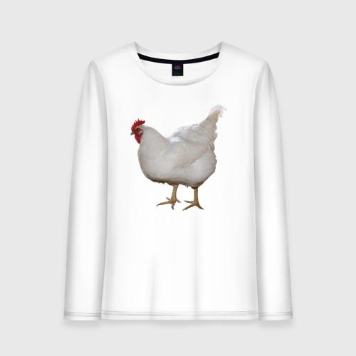 Женский лонгслив хлопок Белая курица