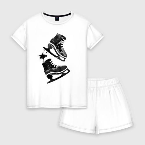 Женская пижама с шортиками хлопок коньки