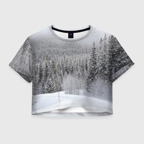 Женская футболка Crop-top 3D Зимняя природа