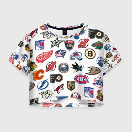 Женская футболка Crop-top 3D NHL PATTERN