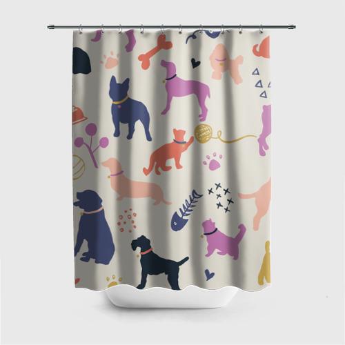 Штора 3D для ванной Домашние животные паттерн | Pets pattern