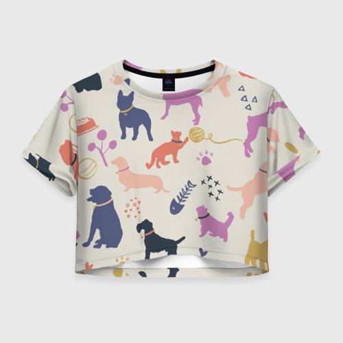 Женская футболка Crop-top 3D Домашние животные паттерн | Pets pattern