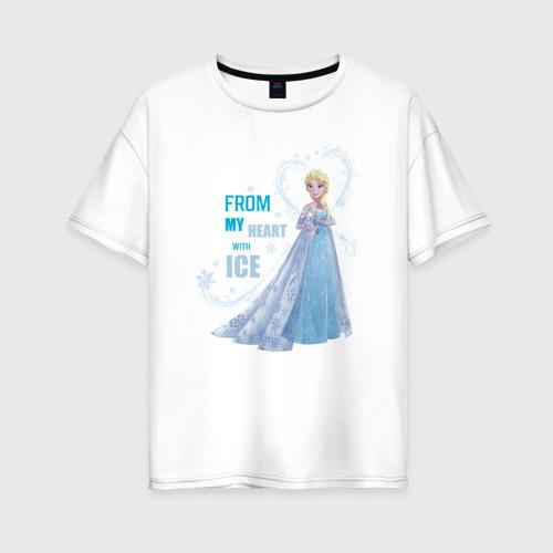 Женская футболка хлопок Oversize Эльза. Холодное сердце