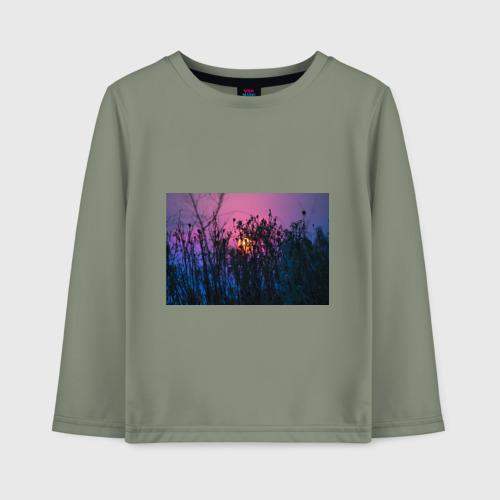 Детский лонгслив хлопок Трава растения закатный свет