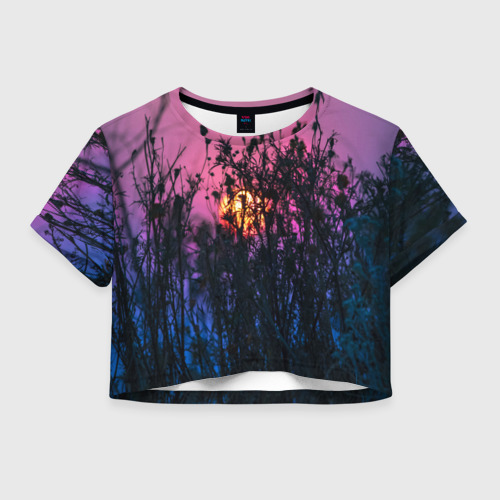 Женская футболка Crop-top 3D Трава растения закатный свет