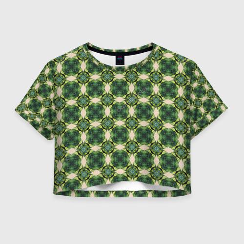 Женская футболка Crop-top 3D Зеленые драгоценности