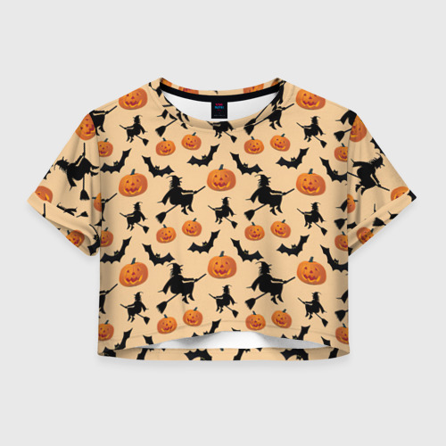 Женская футболка Crop-top 3D Ведьмин праздник