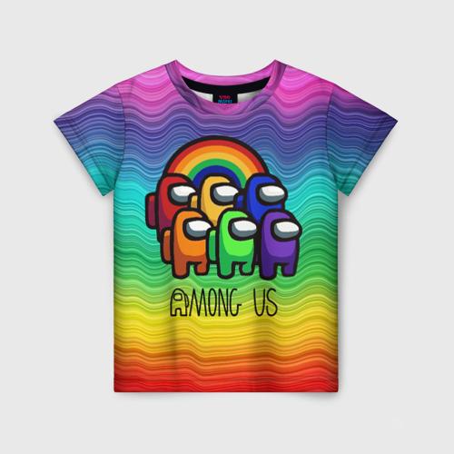 Детская футболка 3D Among Us Радуга