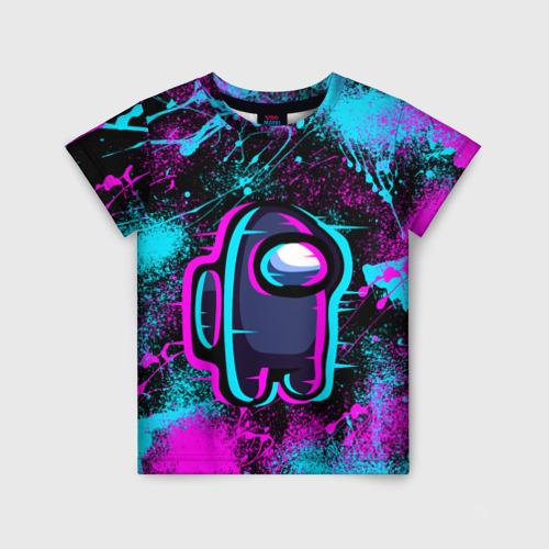 Детская футболка 3D NEON AMONG US   НЕОН АМОНГ АС