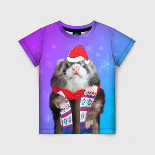 Детская футболка 3D Новогодний хорёк