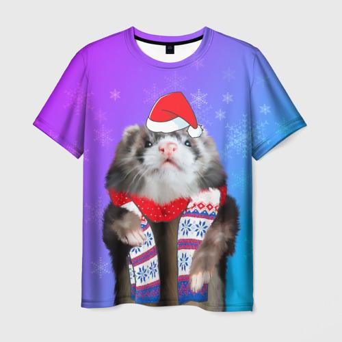Мужская футболка 3D Новогодний хорёк